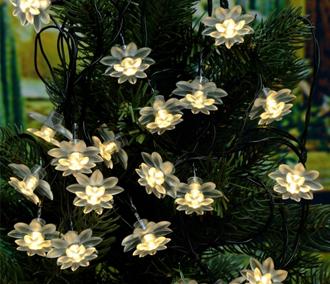 Solar Powered 5.8M 20LED Warm White Lotus Flower Light String
