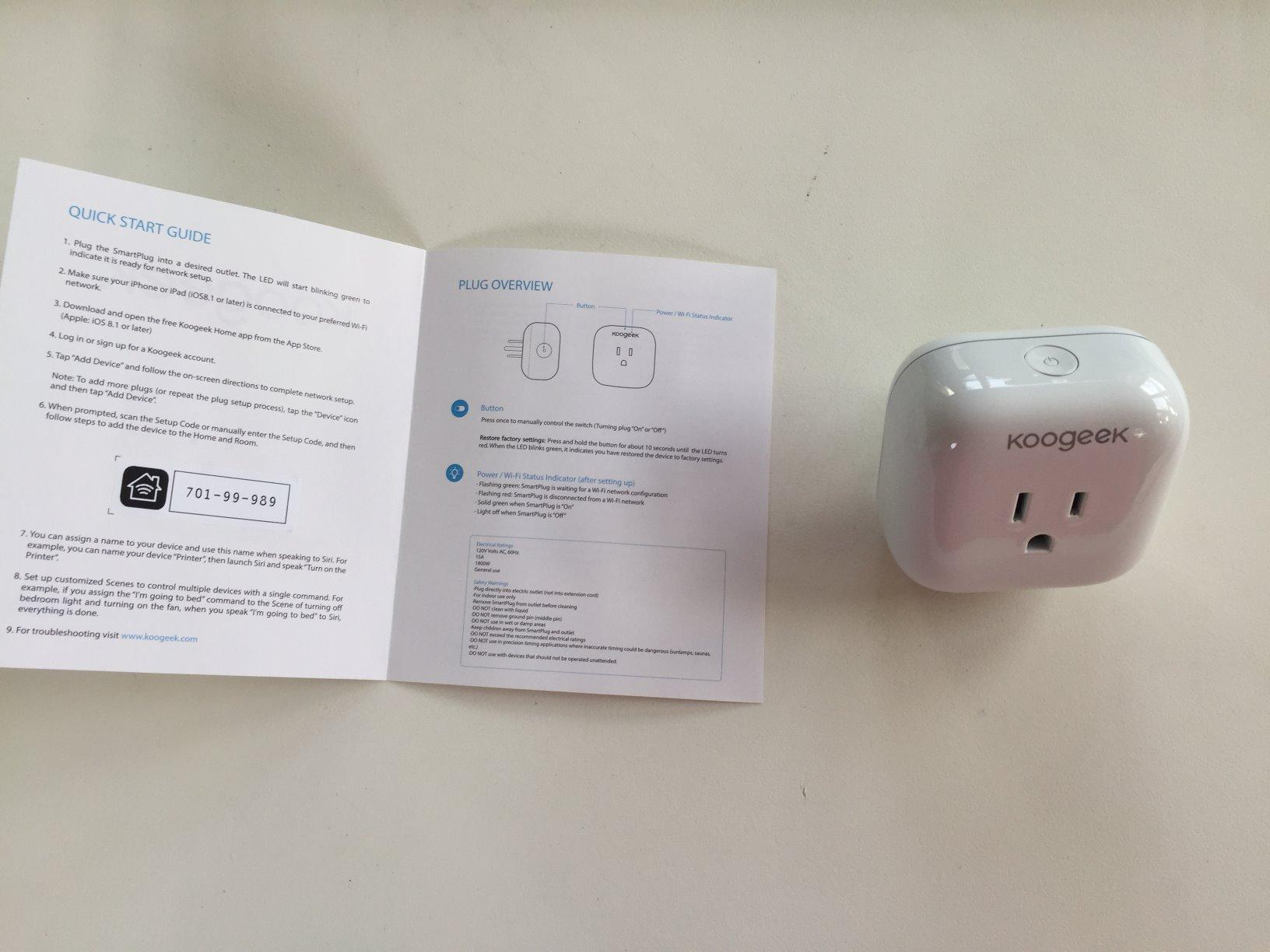 Koogeek Wi Fi Enabled Improved Smart Plug Works With Apple Homekit To Legally In Canada Add 240v Power Outlet From Stove Our Case We Used The Macbook Pro Charging Cord Turn On And Off It Great Be Able Control A Switch Bed Or Lazy Chair