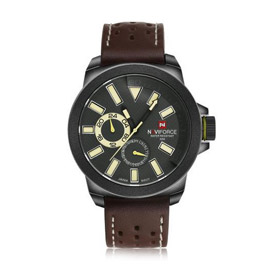 NAVIFORCE PU Leather Analog Quartz Watch