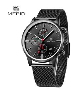 MEGIR High-end Steel Mesh Watchband Quartz Watch