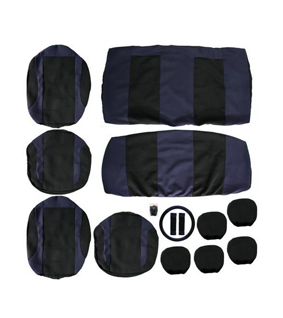 Car Seat Cover Set & Matching Steering Wheel Cover & Seat Belt Pads