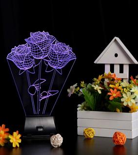 LIXADA 3D LED Lamp Light USB Rose Colorful Night Light