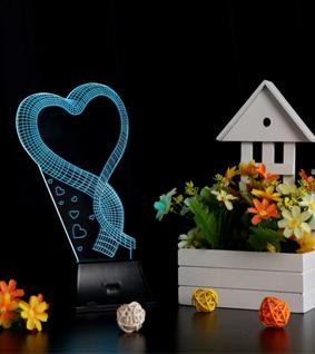 LIXADA 3D USB Loving Heart Colorful Night Light