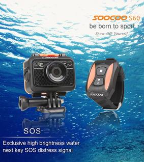 SOOCOO S60 60M Waterproof SOS Flash 1080P Sport Camera