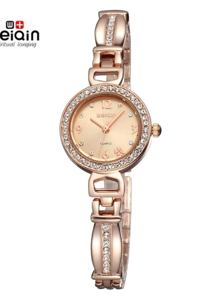 WEIQIN moda oro rosa reloj de lujo marca mujeres vestido de relojes relojes  de pulsera de c4e5fc3c46a3