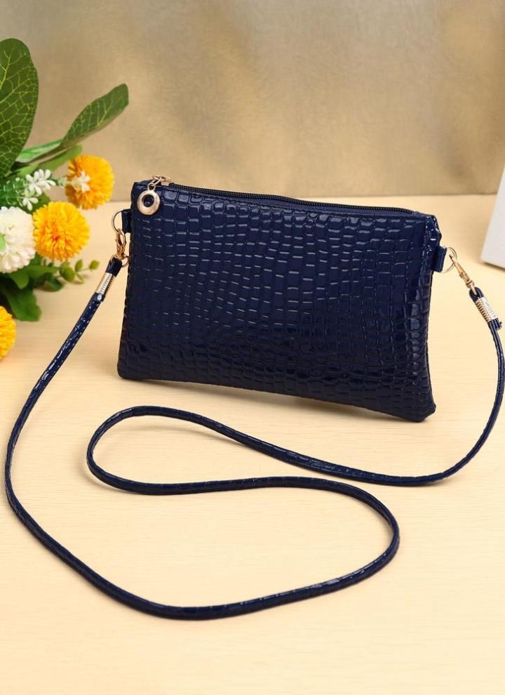2160d8ff81e81 Neue Frauen kleine Umhängetasche PU Leder Krokodil Patten Zipper Crossbody Tasche  Handtasche schwarz dunkel blau