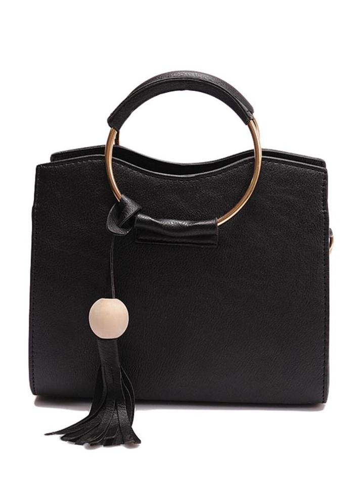 781bb1a50ae6 Nouveau sac femmes sac à main PU anneau métallique poignée en cuir Tassel  Tote Sac bandoulière