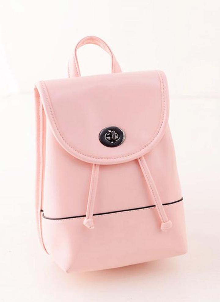 Nouveaux vêtements femme sac à dos couleur Candy PU cuir Twist Lock  Drawstring fermeture cartable b2bd0d0dea3