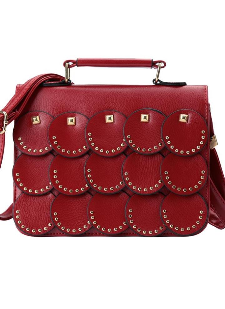 0b8917dc7912 Femme petit sac à bandoulière simili cuir Rivet panneau rond Rabat avant  bandoulière Casual sac à