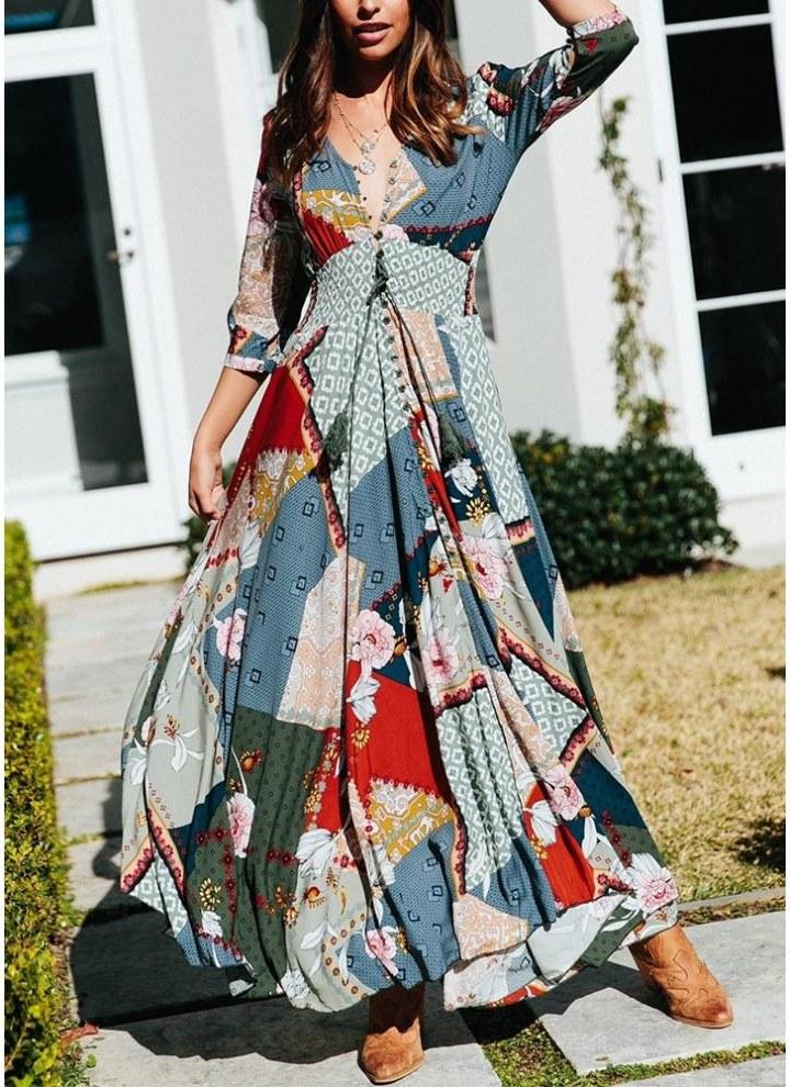 166d2a5a39 04 m Bohemian Style Colorful Printed Beach Maxi Dress - Divains