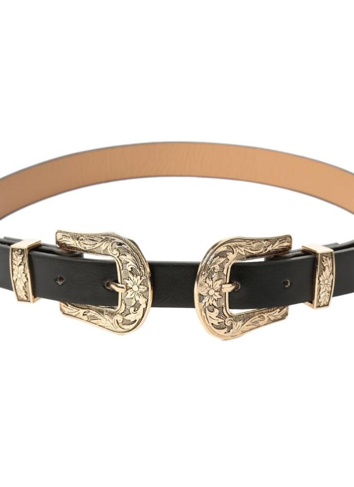 Nouveau Mode Femmes Ceinture en cuir Métal Vintage Slim Double Boucle  ceinture sangle de ceinture fe883a61913