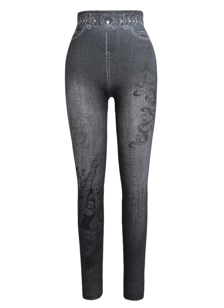 ddade08ef6 n ° 5 Pantalon Skinny Imprimé Femmes Casual Faux Denim Jeans ...