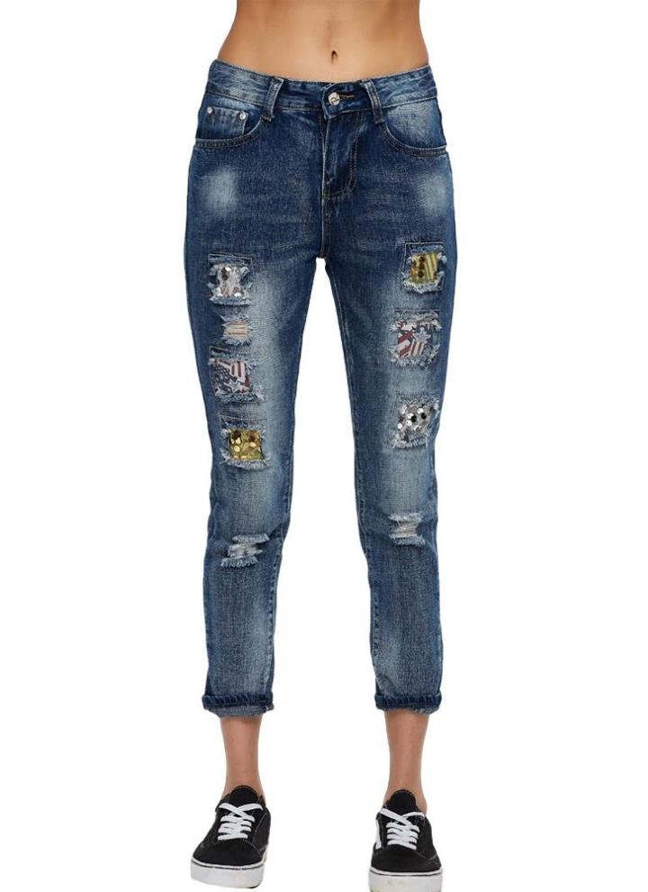Neue Art und Weise Frauen-Denim-Jeans Zerrissene Loch Tasche mit hoher  Taille Flecken