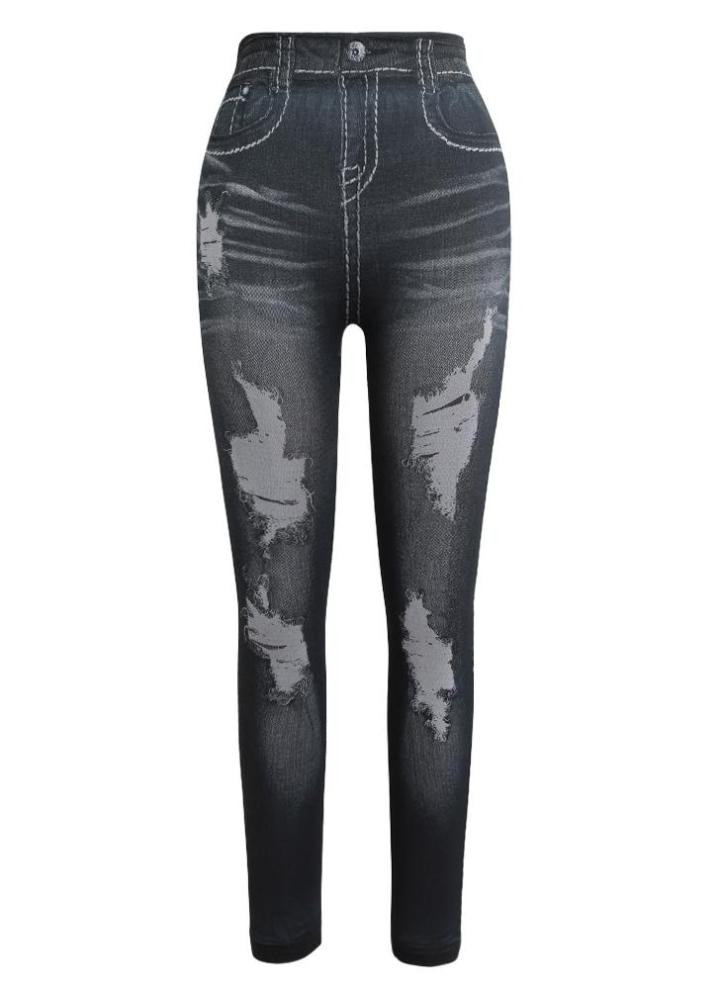 Pantalon Femmes Pantalons Jean Skinny Jeans Femmes Stretch Dentelle Leggings Noir P//