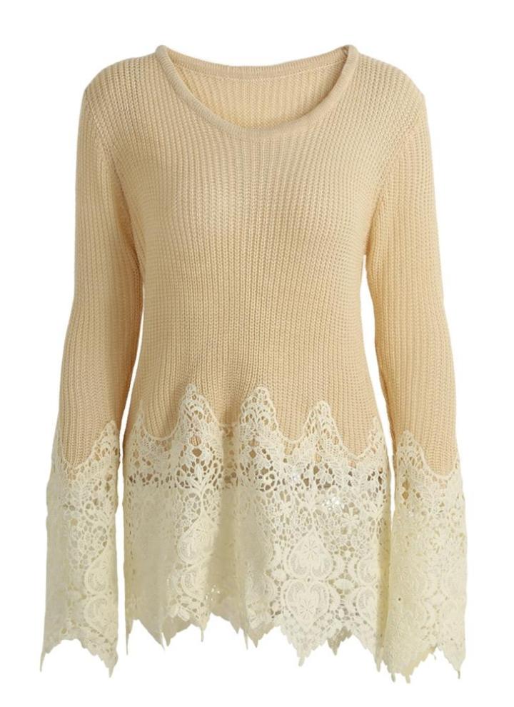 un tamaño caqui Borde festoneado de la moda suéter de las mujeres ...