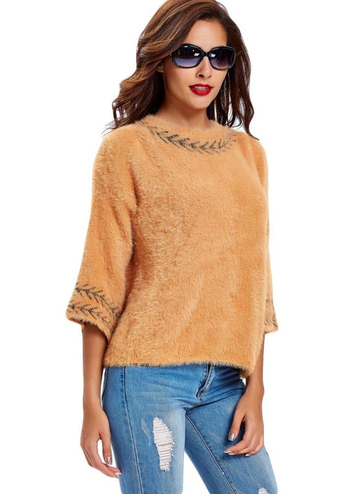 8d0c7e3e2 New Mulheres camisola de malha Splice Impressão em torno do pescoço 3 4  Vintage morno