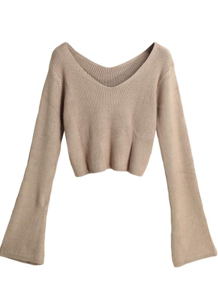 Nuevo invierno de las mujeres suéter de punto de color sólido cuello en V  manga larga c0cf88c3e812