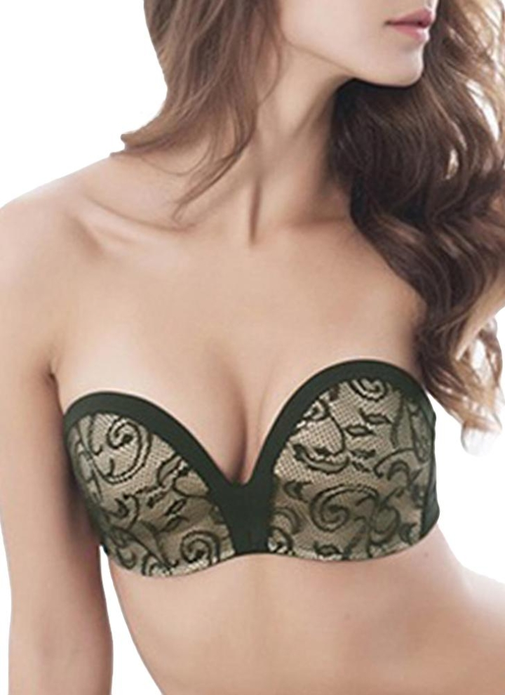 f25a11ed198e8 Sexy Lace Strapless Lined Lift Support Push Up Invisible Women s Bra