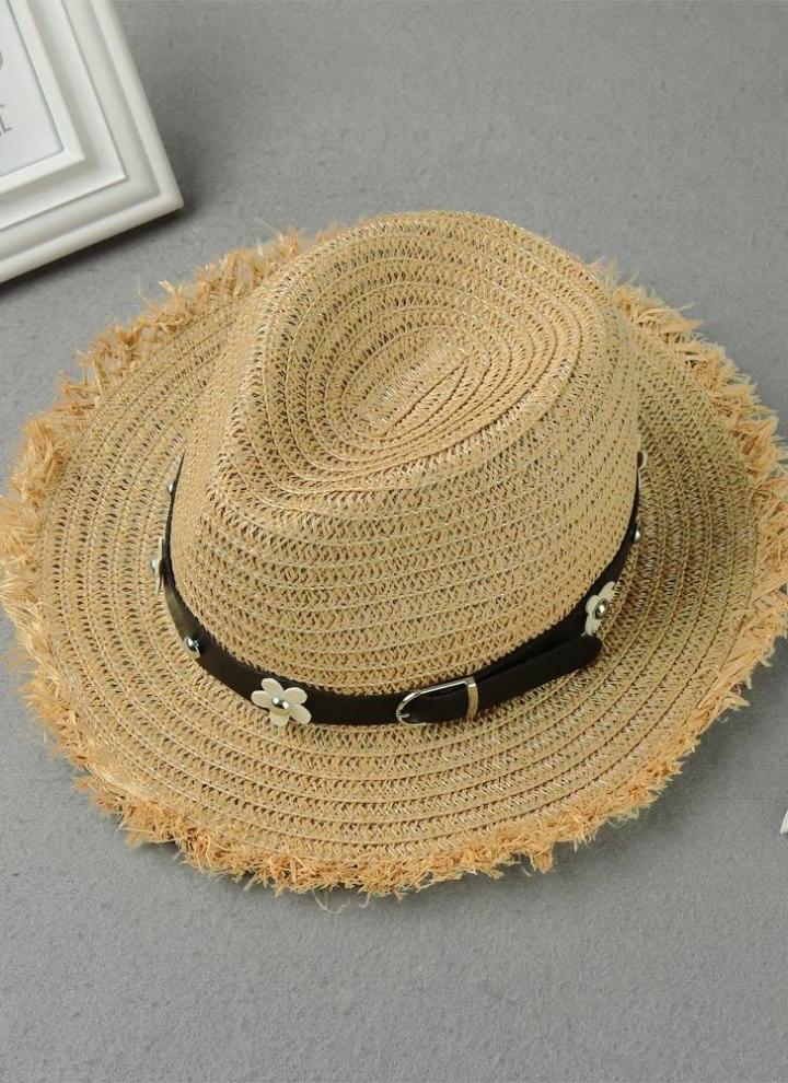 f6e5587424d Nouveau Mode Femmes Chapeau de paille Daisy Rivet ceinture large Brim  Summer Sun Beach Cap Panama