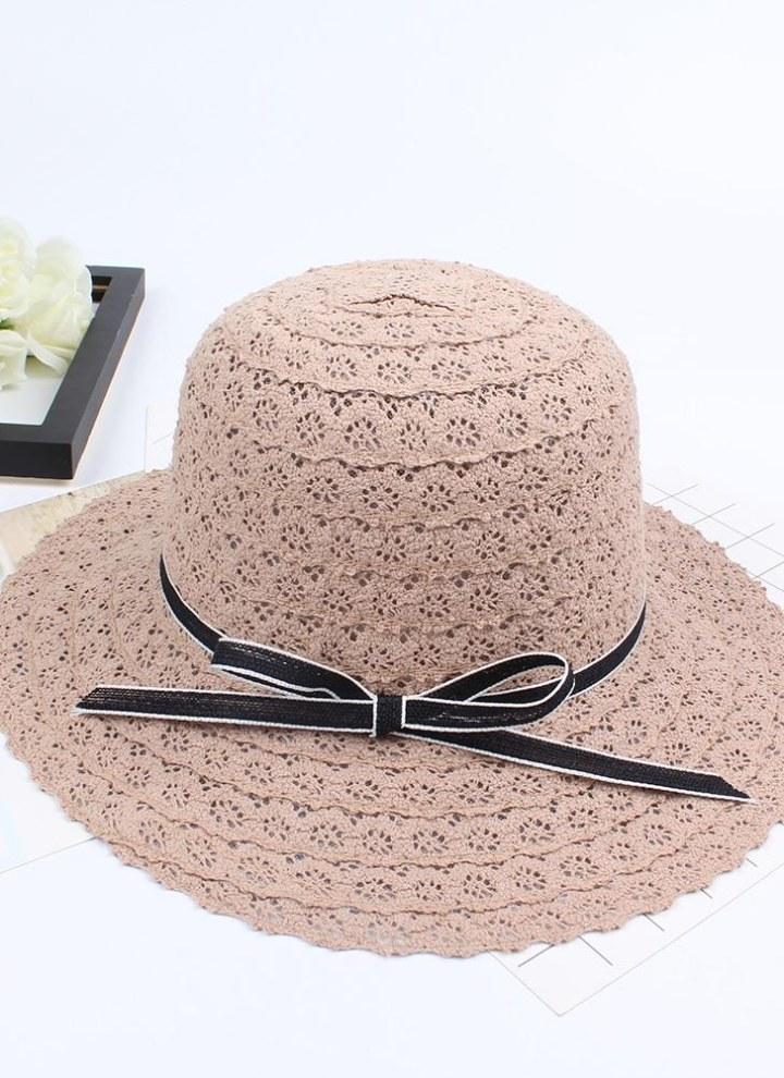 Summer Fashion Women Straw Floppy Hat Wide Brim Bowknot Foldable Sun Beach Holiday Casual Cap