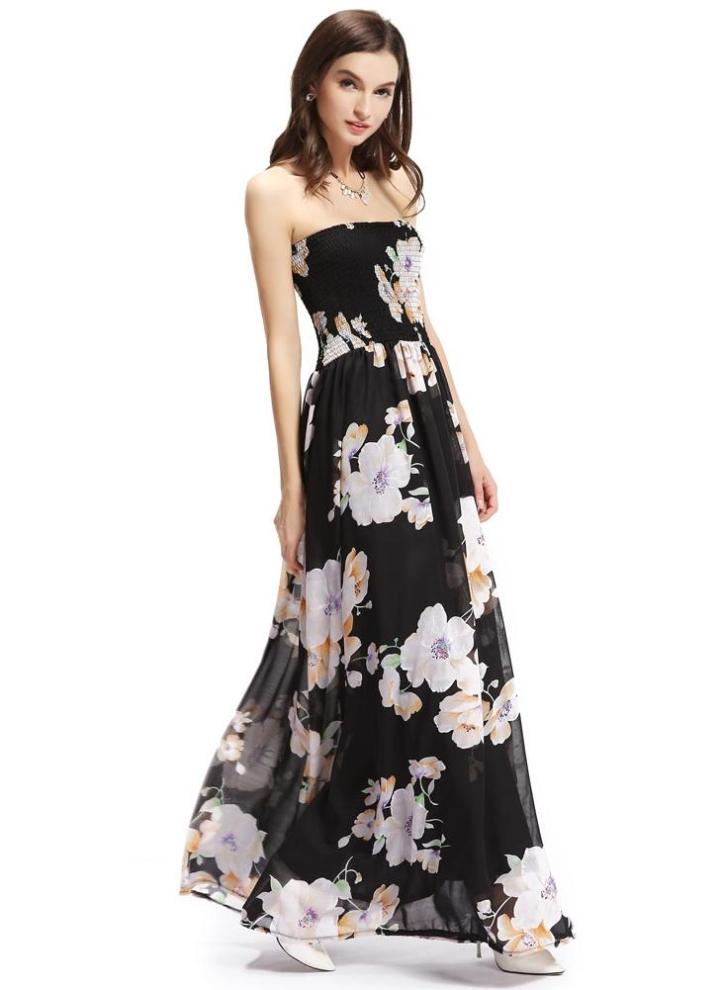 Mode Frauen Chiffon Bandeau Bandage Blumendruck gefüttert Swing Maxikleid 885d294399