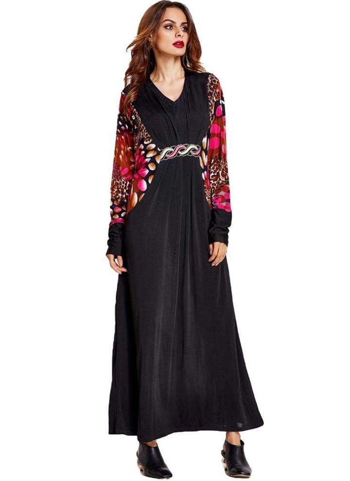 6e7bf7aef5cf Anself nuevo de las mujeres musulmanes largo vestido de impresión de  empalme de la vendimia V manga del cuello del Batwing flojo Kaftan islámica  Abaya ...