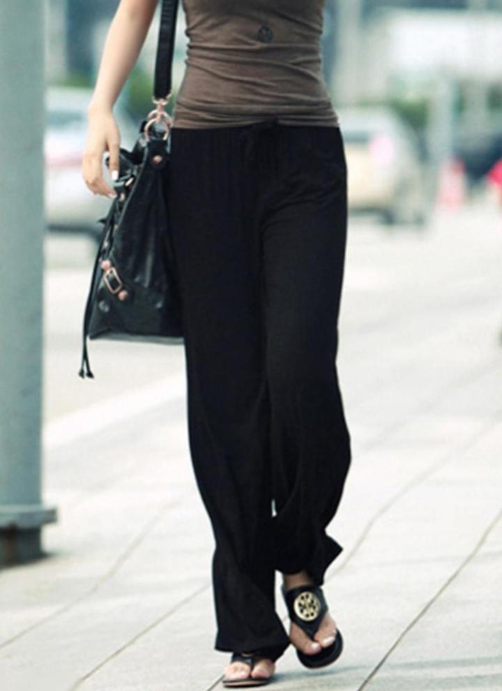 671e16f25723 Les femmes d hiver lâches pantalons à jambes larges solides élastiques à  taille élastique élégant