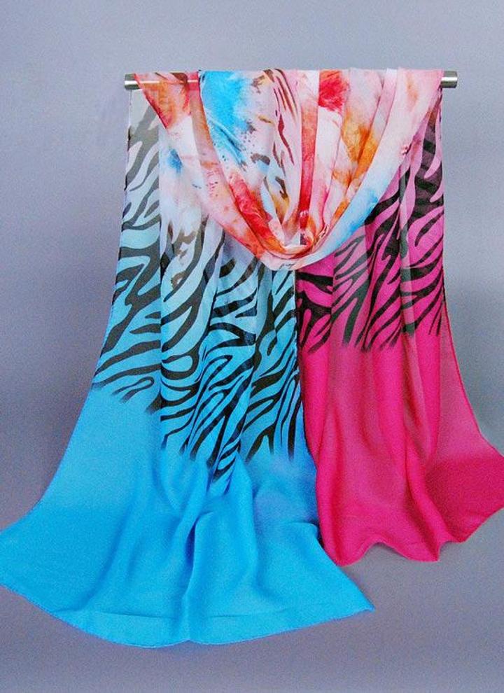 Nuove Colore Contrasto Azzurro Chiffon Sciarpa Fiore Donne Di Zebra qOdnCad