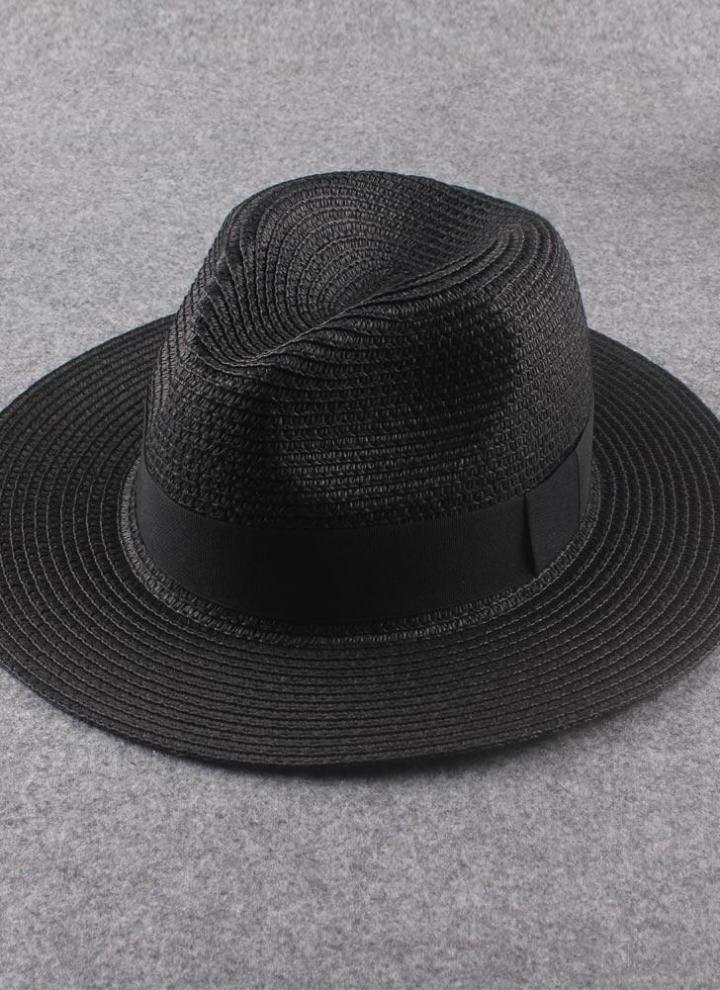 un'altra possibilità acquista lusso Saldi 2019 Nuova moda donna cappello di paglia nastro Trim tesa larga pieghevole  estate sole spiaggia Cap Fedora Trilby cappello nero