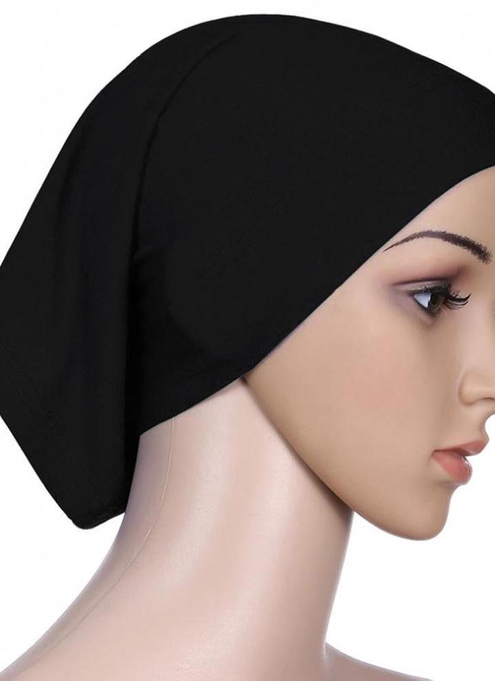f1de1fb08ce525 Solid Color Muslim Hijab Islamic Turban Inner Cap