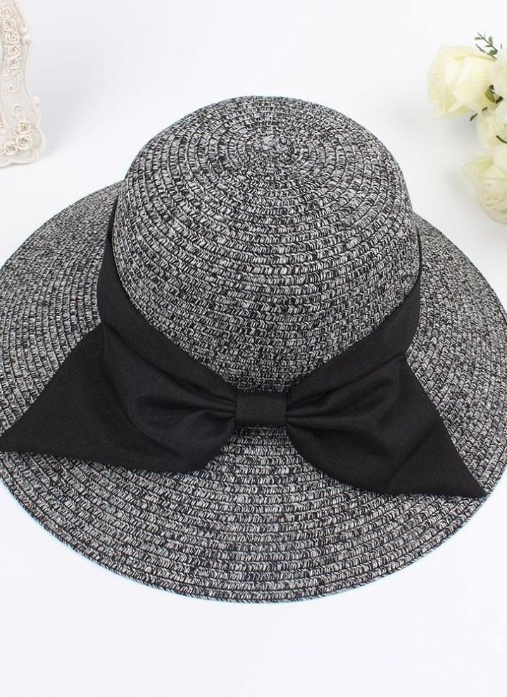 Women/'s Stripe Wide Brim Floppy Straw Hat Foldable Summer Beach Sun Cap With Bow