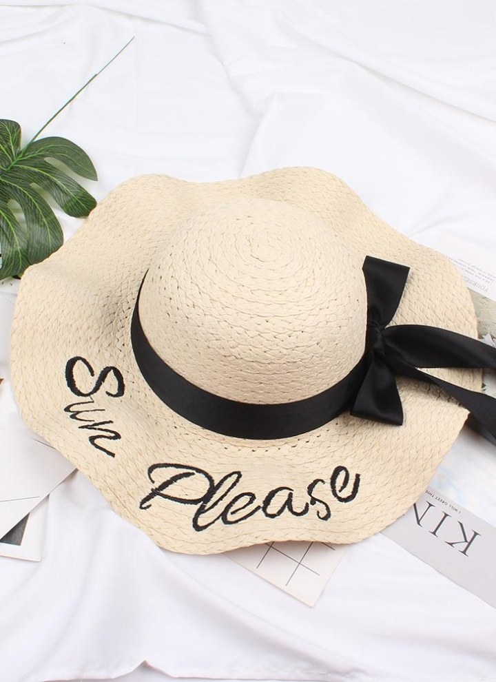 9667bb23339 black Fashion Women Letter Embroidery Straw Hat Wide Brim Outdoor Foldable  Beach Shade Sun Hats - Chicuu