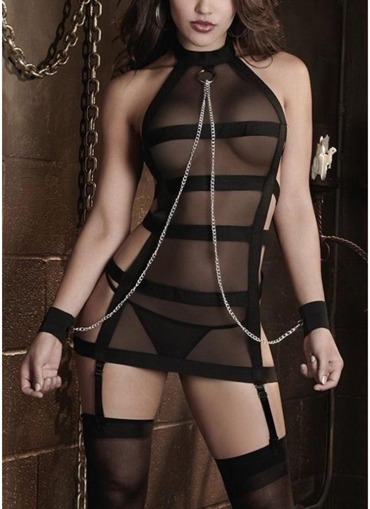 f8d480fe4a un tamaño negro Women Mesh Bandage Lencería Set Esposas Cadena Tanga ...