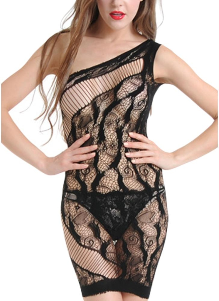 9f82a65ba0 Women Hollow Out Lingerie Sleep Dress Sheer Mesh Lace Babydoll Dress  Nightwear Sleepwear