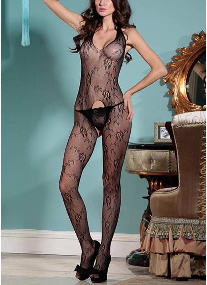 26578cd5475 un tamaño negro Mujeres exóticas Body Stocking See Through Mesh Open ...