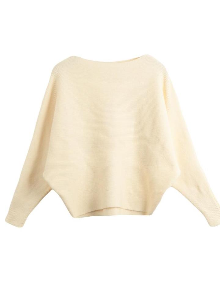 84dc8c8fda04 Moda mujer de manga larga de color sólido de punto jersey sudadera manga  del Batwing raya