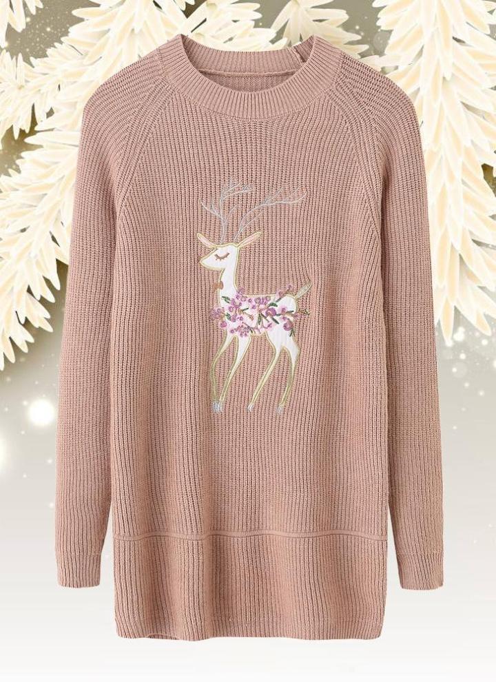 dd66ffee8 beige einheitsgröße Weihnachtsfrauen gestrickten Pullover Langarm Rentier  bestickt Pullover - Chicuu