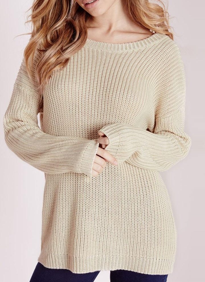 Loose Knitted Sweater Solid Lace-Up O-Neck Long Sleeve Women s ... 9f6bee0bf