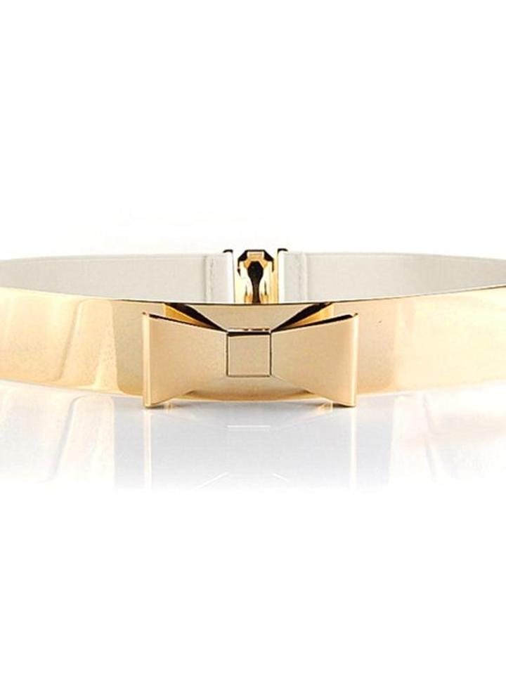 Vêtements femme miroir taille ceinture métallique Bling or plaque Bow Obi  large élastique ceinture ceinture c1e7d7fe9ee