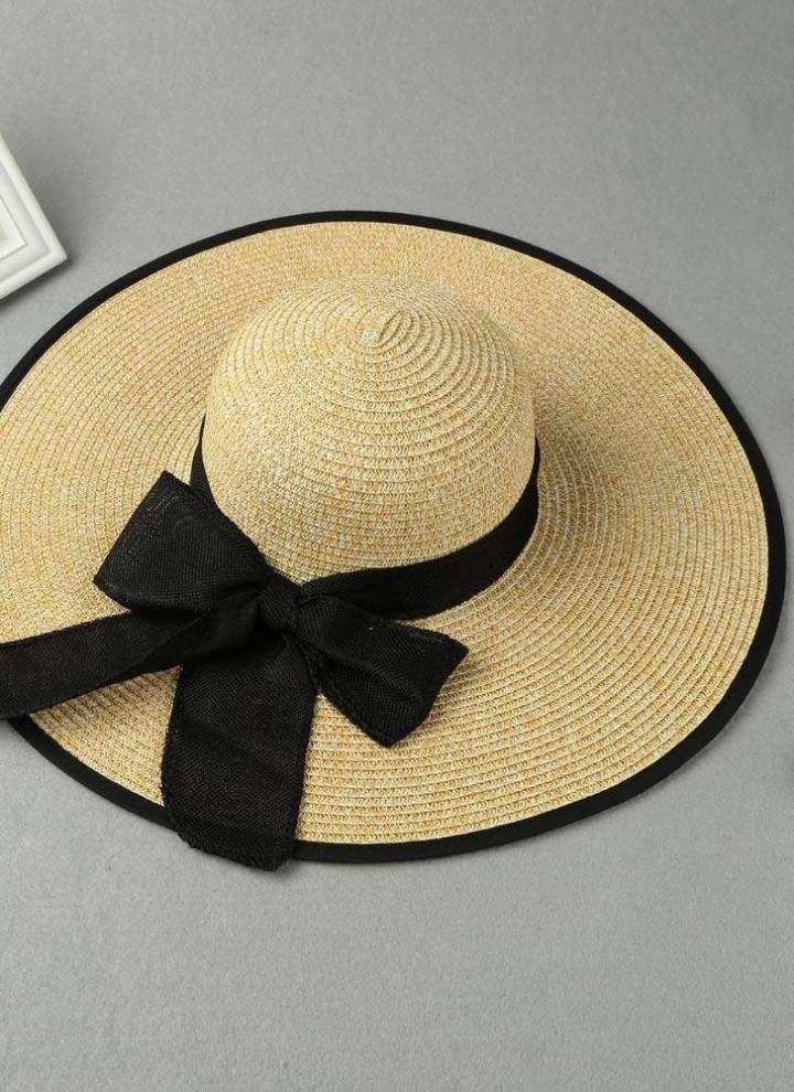 baf1420b22cc8 Moda Mulheres Chapéu de Sol Chapéu de Palha Grande Brim auto-tie Sólidos  Verão Sunbonnet