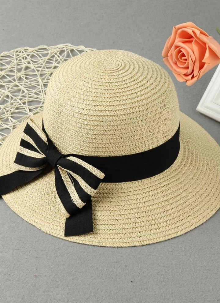 Le donne dell arco nuovo modo Cappello di paglia bordo largo solido Beach  Summer Sun 648a55df600f