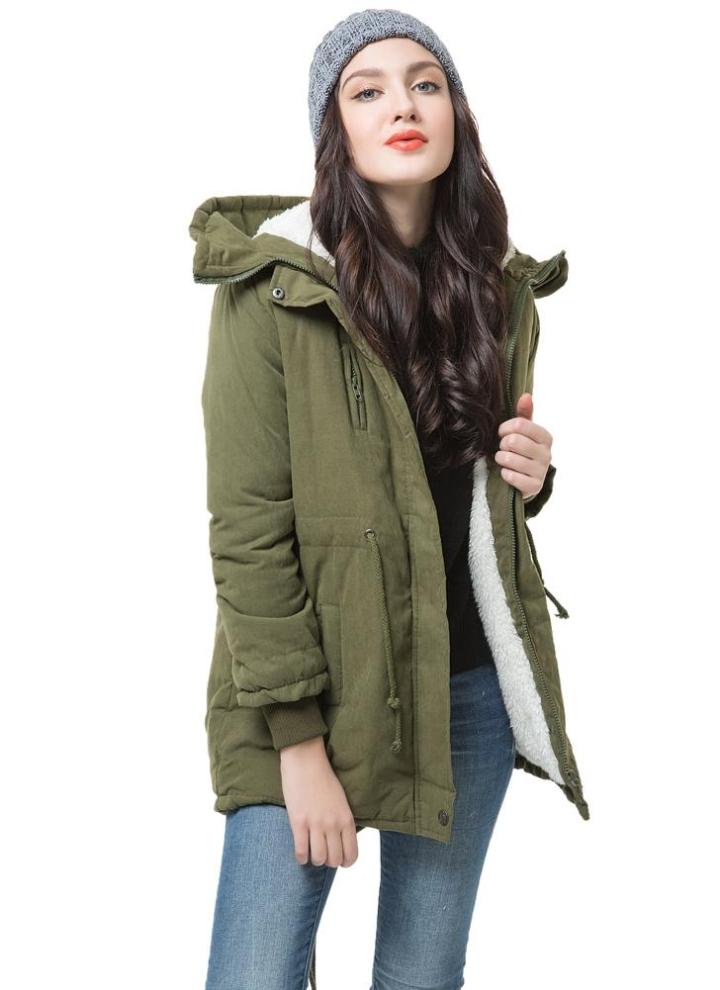 Donna inverno felpa felpa con cappuccio cappotto del cappotto caldo Parka  giacca lunga verde militare (