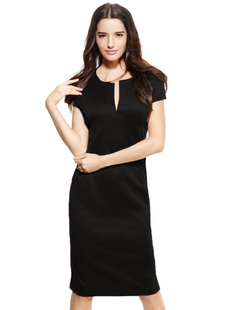 schwarz s Sexy Mode Frauen Bleistift Kleid Plunge V-Ausschnitt ...