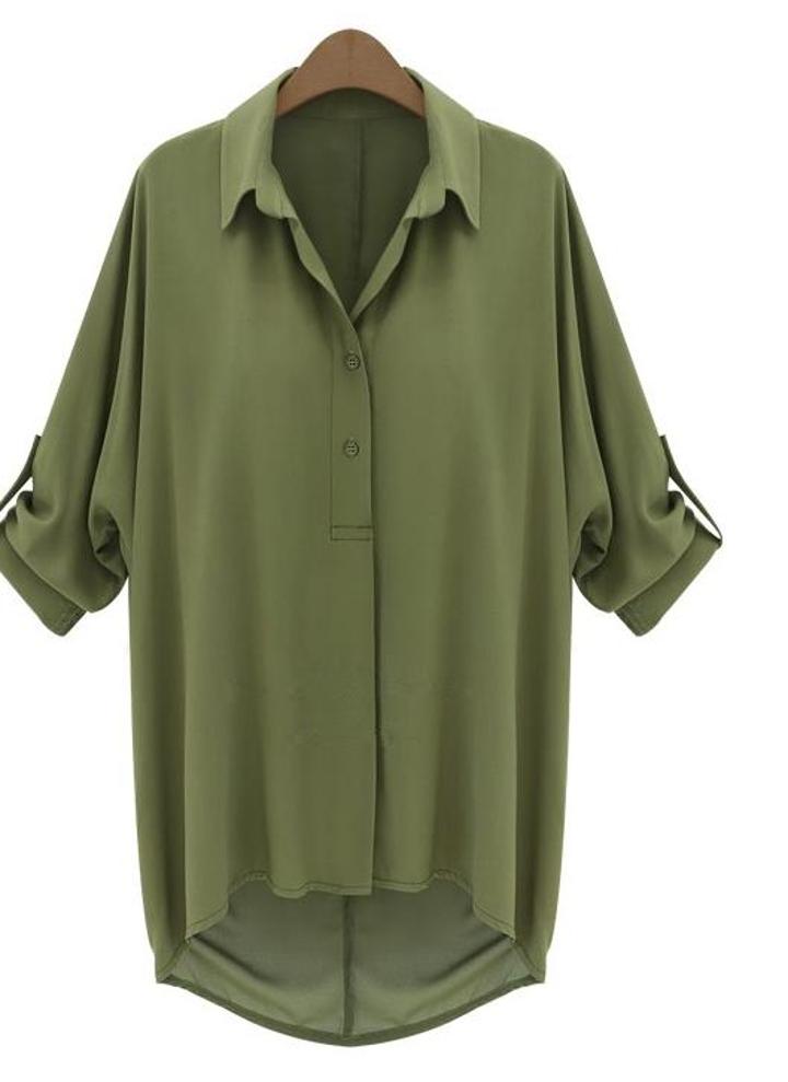ad8677d7ee3f Nuova moda donna camicia in Chiffon couverture collare maniche lunghe  camicetta Top esercito Green