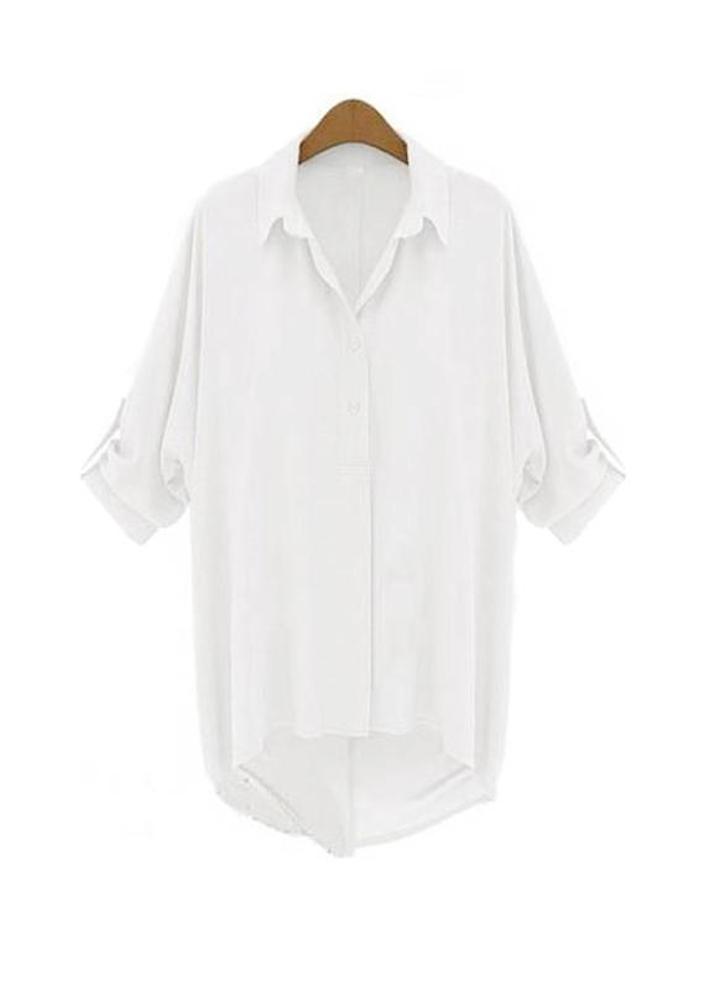 3a1833bdaa42 Nuova moda donna camicia in Chiffon couverture collare maniche lunghe  camicetta Top White