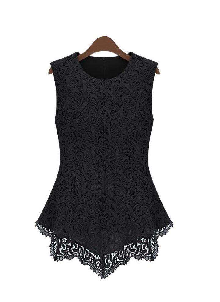s negro Nueva mujer Floral de encaje blusa sin mangas Crochet Peplum ...