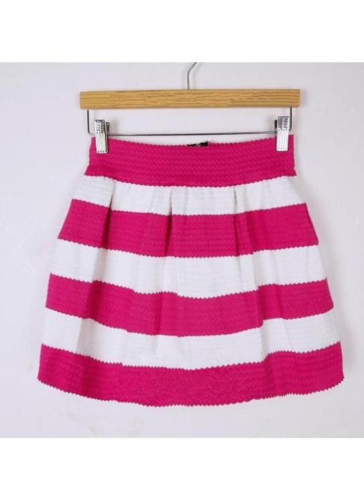 new style 4ebd6 2e984 Nuova moda donna palloncino gonna corta in maglia Stripe Patchwork vita  alta Skater carino gonna rosa