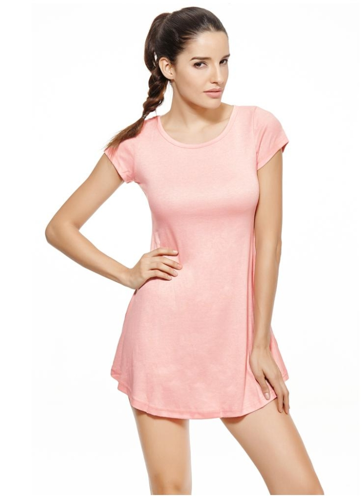 un tamaño rosado Nuevas mujeres coreanas chica Mini vestido manga ...