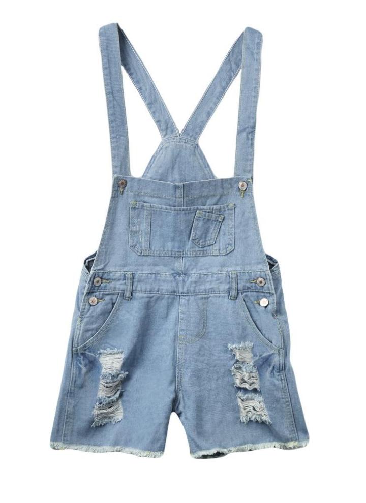b0573da5 Moda mujeres mamelucos correa bolsillos deshilachados agujeros rasgados  monos overoles Shorts vaqueros azul claro