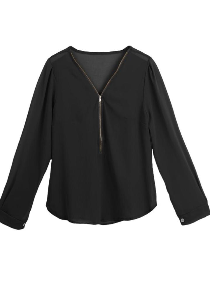 bb64160a9d0c black l Fashion Women Chiffon Long Sleeve Casual Top Shirt - Chicuu